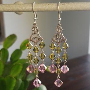 Handmade Swarovski & Sterling Chandelier Earrings